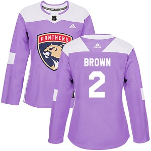Authentic Adidas Women's Josh Brown Purple Fights Cancer Practice Jersey - NHL Florida Panthers