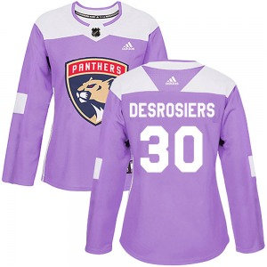 Authentic Adidas Women's Philippe Desrosiers Purple ized Fights Cancer Practice Jersey - NHL Florida Panthers