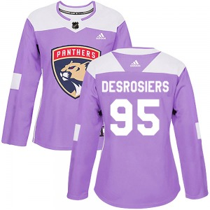 Authentic Adidas Women's Philippe Desrosiers Purple Fights Cancer Practice Jersey - NHL Florida Panthers