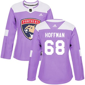 Authentic Adidas Women's Mike Hoffman Purple Fights Cancer Practice Jersey - NHL Florida Panthers