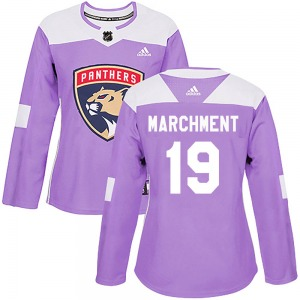Authentic Adidas Women's Mason Marchment Purple Fights Cancer Practice Jersey - NHL Florida Panthers
