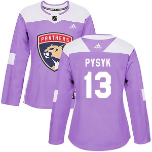 Authentic Adidas Women's Mark Pysyk Purple Fights Cancer Practice Jersey - NHL Florida Panthers