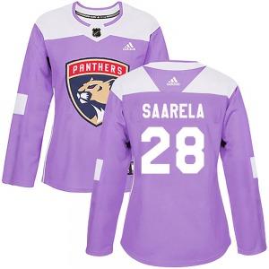 Authentic Adidas Women's Aleksi Saarela Purple ized Fights Cancer Practice Jersey - NHL Florida Panthers