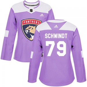 Authentic Adidas Women's Cole Schwindt Purple Fights Cancer Practice Jersey - NHL Florida Panthers