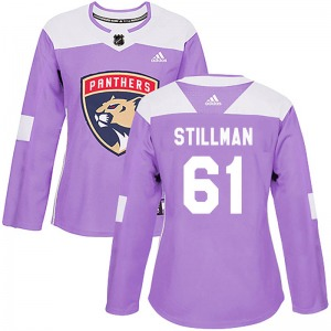Authentic Adidas Women's Riley Stillman Purple Fights Cancer Practice Jersey - NHL Florida Panthers