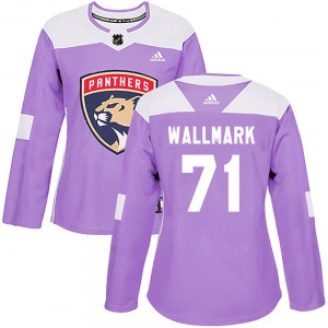 Authentic Adidas Women's Lucas Wallmark Purple ized Fights Cancer Practice Jersey - NHL Florida Panthers