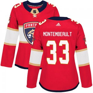 Authentic Adidas Women's Sam Montembeault Red Home Jersey - NHL Florida Panthers
