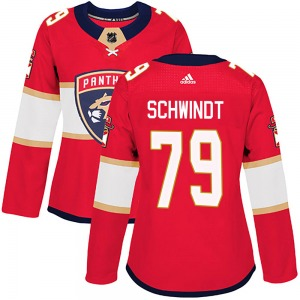 Authentic Adidas Women's Cole Schwindt Red Home Jersey - NHL Florida Panthers
