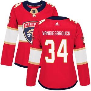 Authentic Adidas Women's John Vanbiesbrouck Red Home Jersey - NHL Florida Panthers