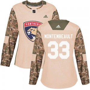 Authentic Adidas Women's Sam Montembeault Camo Veterans Day Practice Jersey - NHL Florida Panthers
