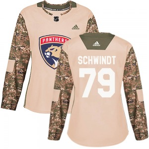 Authentic Adidas Women's Cole Schwindt Camo Veterans Day Practice Jersey - NHL Florida Panthers