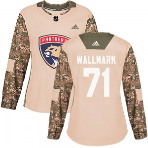 Authentic Adidas Women's Lucas Wallmark Camo ized Veterans Day Practice Jersey - NHL Florida Panthers