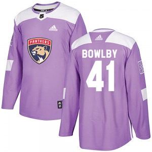 Authentic Adidas Youth Henry Bowlby Purple Fights Cancer Practice Jersey - NHL Florida Panthers