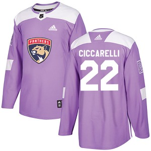 Authentic Adidas Youth Dino Ciccarelli Purple Fights Cancer Practice Jersey - NHL Florida Panthers