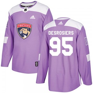 Authentic Adidas Youth Philippe Desrosiers Purple Fights Cancer Practice Jersey - NHL Florida Panthers