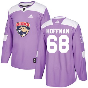 Authentic Adidas Youth Mike Hoffman Purple Fights Cancer Practice Jersey - NHL Florida Panthers