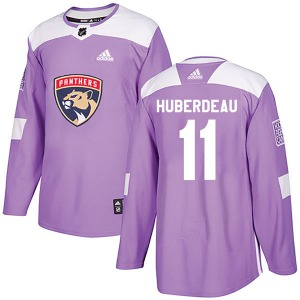 Authentic Adidas Youth Jonathan Huberdeau Purple Fights Cancer Practice Jersey - NHL Florida Panthers