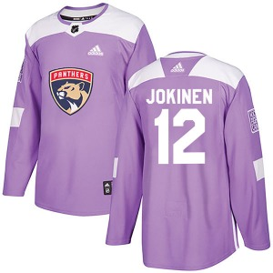Authentic Adidas Youth Olli Jokinen Purple Fights Cancer Practice Jersey - NHL Florida Panthers