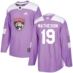 Authentic Adidas Youth Michael Matheson Purple Fights Cancer Practice Jersey - NHL Florida Panthers