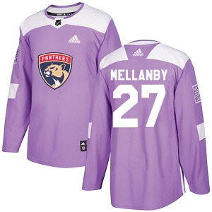 Authentic Adidas Youth Scott Mellanby Purple Fights Cancer Practice Jersey - NHL Florida Panthers