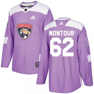 Authentic Adidas Youth Brandon Montour Purple Fights Cancer Practice Jersey - NHL Florida Panthers