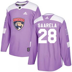 Authentic Adidas Youth Aleksi Saarela Purple ized Fights Cancer Practice Jersey - NHL Florida Panthers