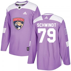 Authentic Adidas Youth Cole Schwindt Purple Fights Cancer Practice Jersey - NHL Florida Panthers