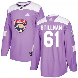 Authentic Adidas Youth Riley Stillman Purple Fights Cancer Practice Jersey - NHL Florida Panthers