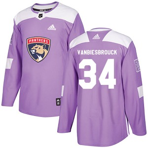 Authentic Adidas Youth John Vanbiesbrouck Purple Fights Cancer Practice Jersey - NHL Florida Panthers