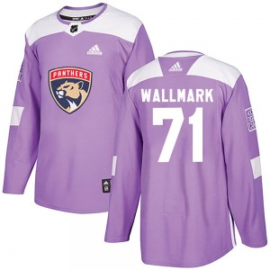 Authentic Adidas Youth Lucas Wallmark Purple ized Fights Cancer Practice Jersey - NHL Florida Panthers