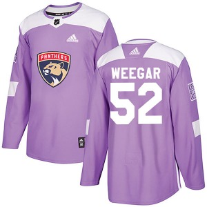 Authentic Adidas Youth MacKenzie Weegar Purple Fights Cancer Practice Jersey - NHL Florida Panthers