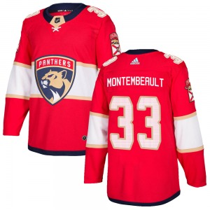Authentic Adidas Youth Sam Montembeault Red Home Jersey - NHL Florida Panthers