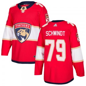 Authentic Adidas Youth Cole Schwindt Red Home Jersey - NHL Florida Panthers