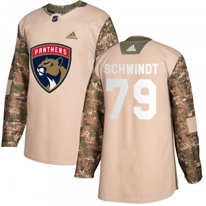 Authentic Adidas Youth Cole Schwindt Camo Veterans Day Practice Jersey - NHL Florida Panthers