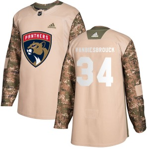 Authentic Adidas Youth John Vanbiesbrouck Camo Veterans Day Practice Jersey - NHL Florida Panthers