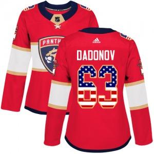 Authentic Adidas Women's Evgenii Dadonov Red USA Flag Fashion Jersey - NHL Florida Panthers