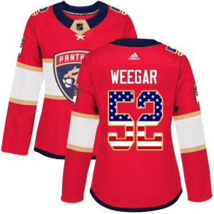 Authentic Adidas Women's MacKenzie Weegar Red USA Flag Fashion Jersey - NHL Florida Panthers