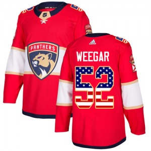 Authentic Adidas Youth MacKenzie Weegar Red USA Flag Fashion Jersey - NHL Florida Panthers
