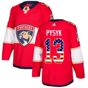 Authentic Adidas Youth Mark Pysyk Red USA Flag Fashion Jersey - NHL Florida Panthers